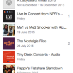 A screen cap of a list of podcasts I follow