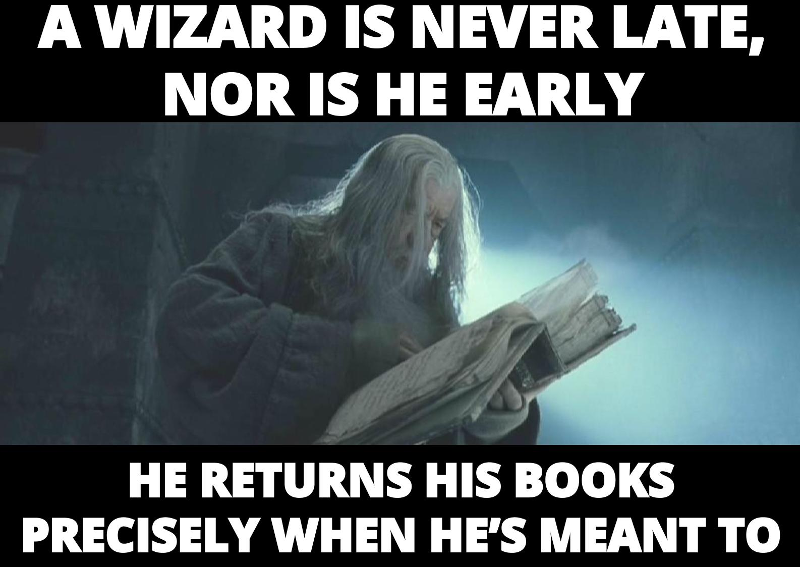 "Gandalf reading a book. ""A Wizard is never late, nor is he early. He returns his books precisely when he's meant to"""