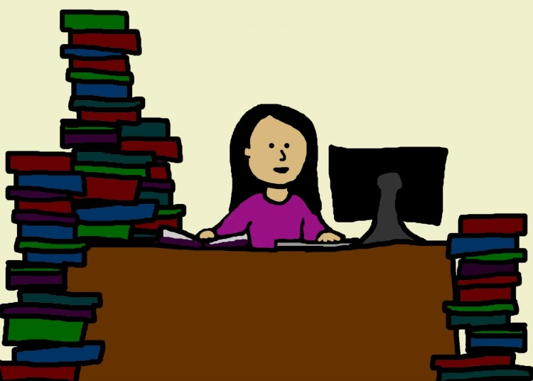 Young woman swamped by research